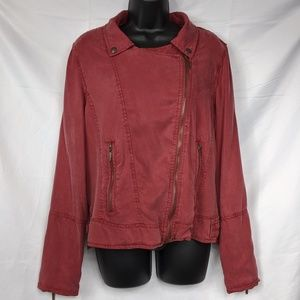Cherry Red Chalky Max Jeans Moto Jacket Size L